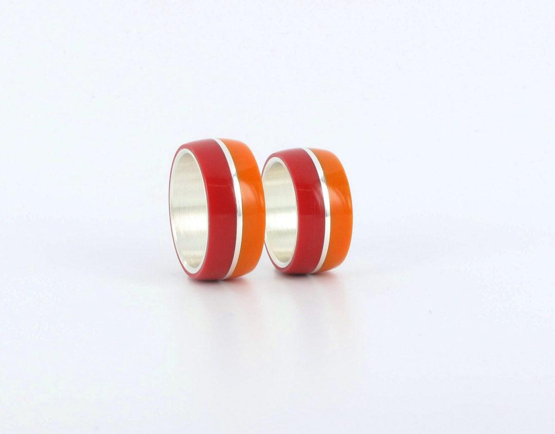 Herrenschmuck Silberring Corian Rot Orange